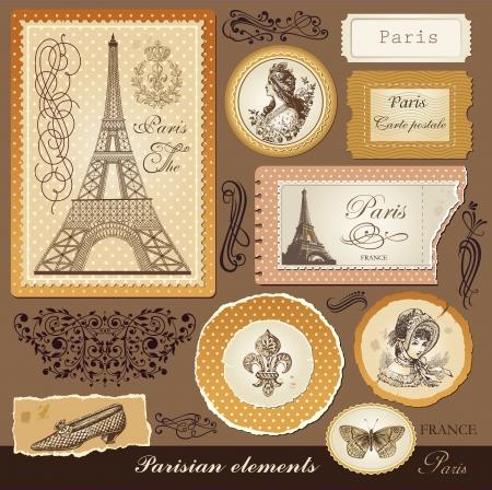 paris vintage: Vector conjunto de s�mbolos de Par�s y elementos caligr�ficos de dise�o