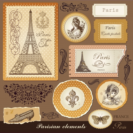 parisian: Vector set symbols of Paris and calligraphic design elements