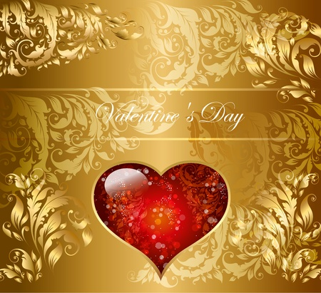 Beautiful gold holiday card with heart Vector