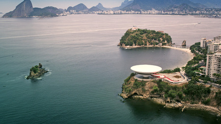 oscar niemeyer: Aerial View of Contemporary Art Museum in Niteroi, Rio de Janeiro, Brazil