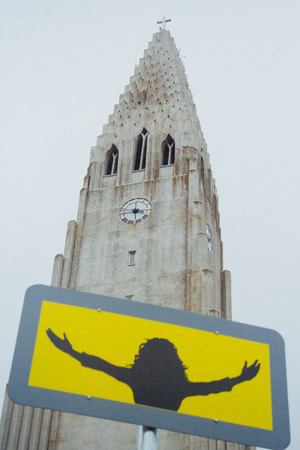 leif: Closeup with sign in front of Hallgrimskirkja in Reykjavik, Iceland