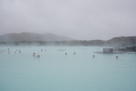 therapy geothermal: Blue Lagoon in Iceland Stock Photo