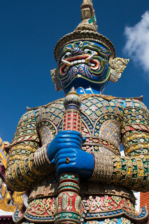 th: Ravana warrior statue in Wat Phra Kea, Bangkok, Thailand Stock Photo