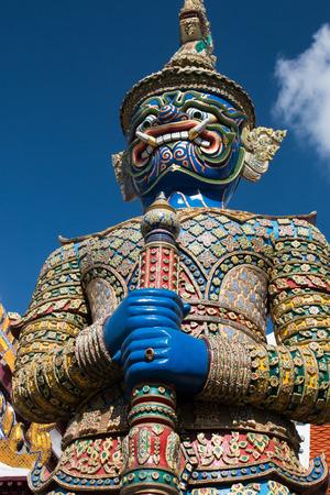 ravana: Ravana warrior statue in Wat Phra Kea, Bangkok, Thailand Stock Photo