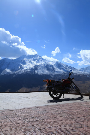 drow: motorcycle with mountain background Stock Photo