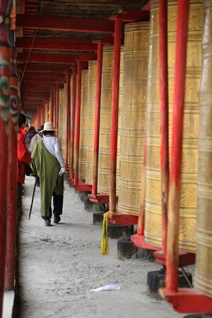 lamaism: prayer wheels at Tibet Stock Photo