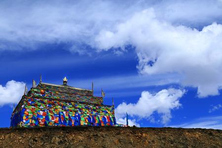 lamaism: Colorful Tibetan prayer flags at the temple