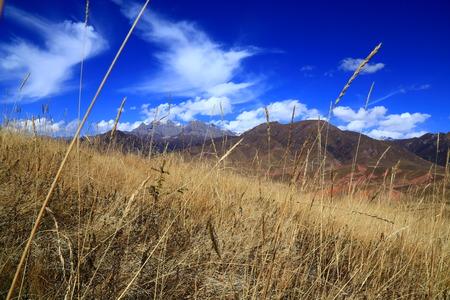 thatcher: Qilian Mountains in Qinghai autumn Thatcher Stock Photo