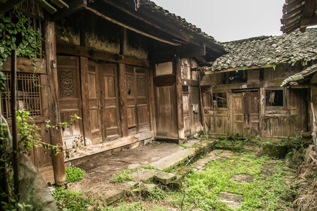 courtyard: Abandoned house courtyard Stock Photo