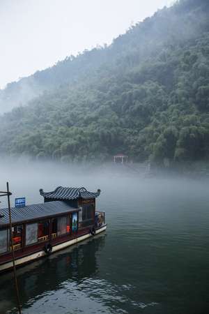 olden day: Traditional chinese tourist ferry Editorial
