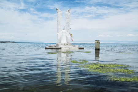 sutra: Guanyin statue in the middle of the sea Stock Photo