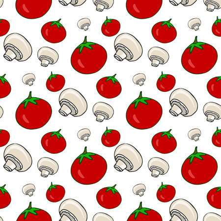 pizza ingredients: Hand drawn seamless pattern with tomatoes and mushrooms. Vector healthy vegetables Illustration for menu