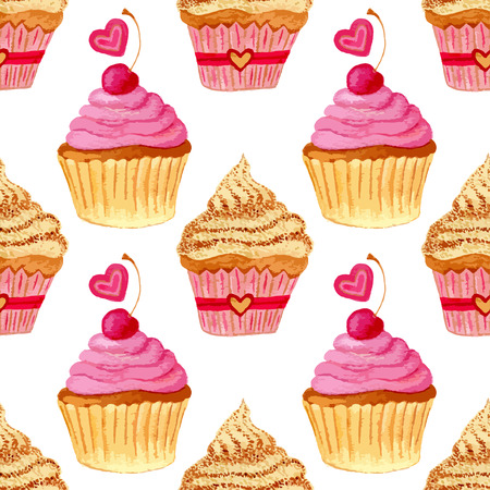 cupcakes: Seamless pattern with hand painted watercolor cupcakes with hearts and sweet cherries. Vector background with pink colorful cakes. Print, package design, wrapping, textile