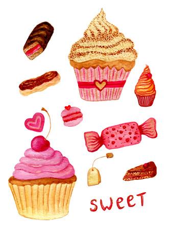 甘いお菓子、お茶のポット、マカロン、カップケーキ、カスタードとケーキの生地のピンクの水彩イラスト。手の描画あなたのデザインのための水