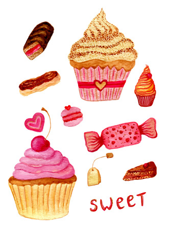 Pink watercolor illustrations of sweet candy, tea pot, macaroon, cupcake, pastry with custard and piece of cake. Set of hand drawn watercolor vector elements for your design