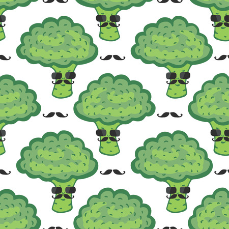 Funny broccoli cartoon seamless pattern. Vegan food. Hipster broccoli with mustache print. Vector illustration Vector