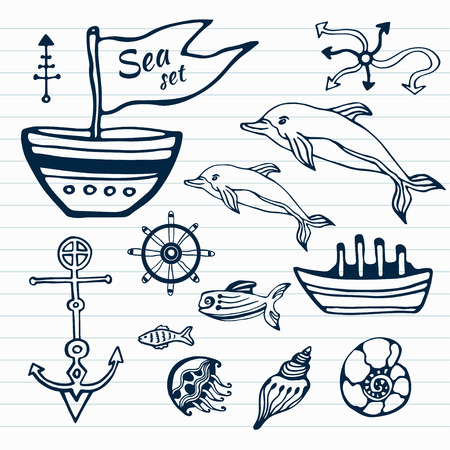 object printing: Sea life hand drawn doodle set. Nautical sketch collection with ship, dolphin, shells, fish anchors and helm . Vector illustration. Can use for object printing and web
