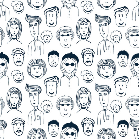 Hand drawn vector seamless pattern with illustration of group of men and women. Crowd of funny worker peoples background