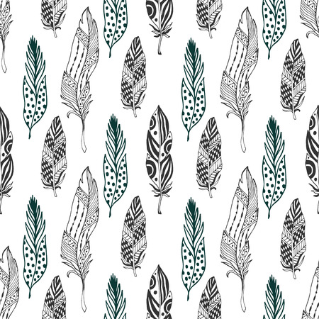 Feathers seamless pattern in ethnic style. Hand drawn zentangle doodle ornament pattern with vector feathers
