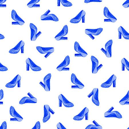 zapatos azules: Zapatos de la acuarela sin patr�n. Vector de la moda con la pintura de zapatos de color azul de fondo