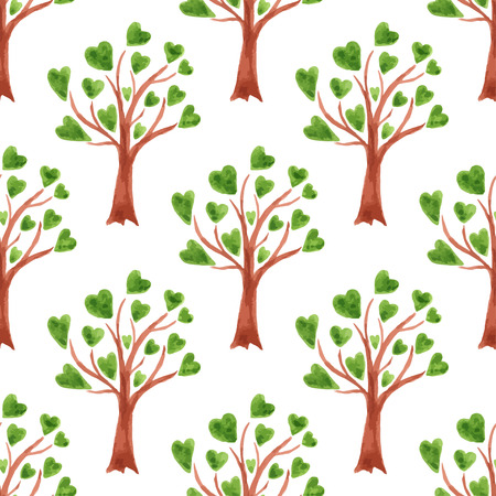 Vector watercolor trees seamless pattern. Trees with leaves in hearts. Can be used for wallpaper, fabric design, textile design, cover, wrapping paper, banner, card, background Vector