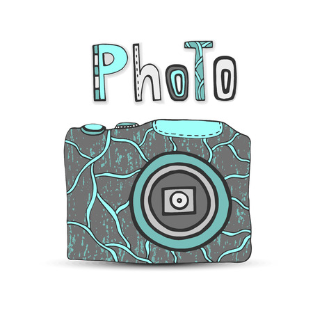 Vector hand drawn illustration with isolated icons of photo camera in retro style. Photo studio logo. Vector