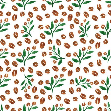 ejotes: Las ramitas de café. Acuarela Modelo inconsútil con la rama de café con hojas. Ilustración vectorial Vectores