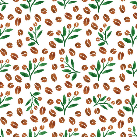 coffee beans background: Twigs of coffee. Watercolor seamless pattern with coffee branch with leaves. Vector illustration