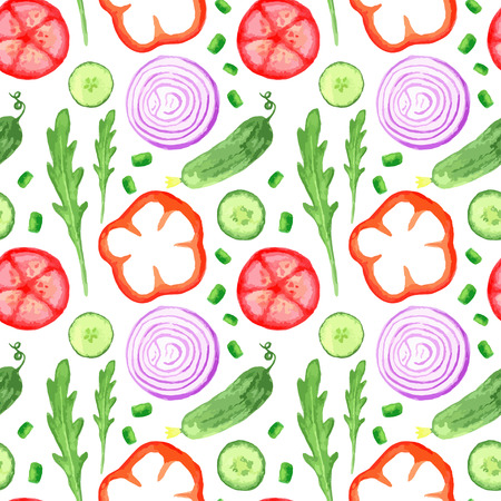 cucumber salad: Hand paint watercolor seanless pattern with vegetables set eat local farm market rustic illustrations with a arugula, onion, pepper, cucumber, tomato, radish. Summer ingredients  for salads. Vector illustration