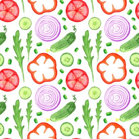 ensalada tomate: Mano patrón seanless pintura de acuarela con verduras establecido comer mercado agrícola ilustraciones rústicas locales con rúcula, cebolla, pimiento, pepino, tomate, rábano. Ingredientes de verano para ensaladas. Ilustración vectorial