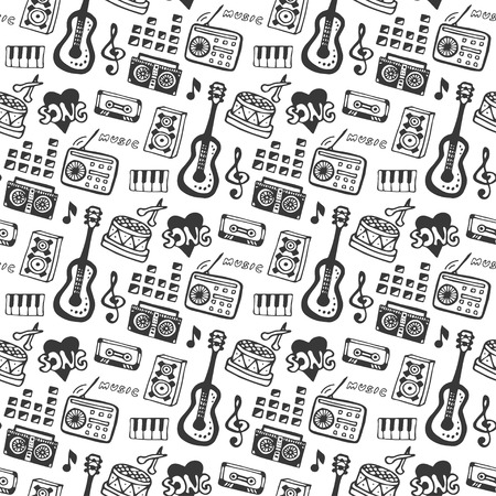 print design: Music seamless pattern with doodle musical instruments and sound elements . Vector illustration music print. Illustration