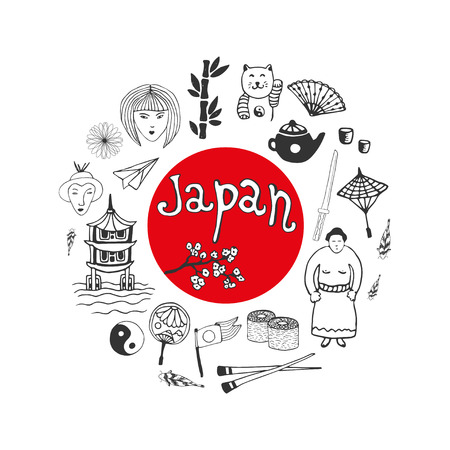 japan culture: Doodle hand drawn collection of Japan icons. Japan culture elements for design. Vector illustration Illustration