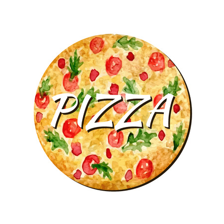 Watercolor pizza isolated artwork. Hand paint vector illustration. Watercolor can be used for sticker, avatar, logo or icon