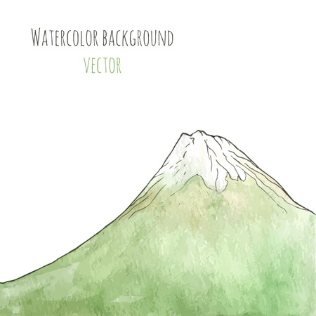 green mountain: Watercolor hand drawn green mountain. Isolated vector illustration. Template for the poster, cover, advertising, flyer. Artwork with landscape for background, backdrop