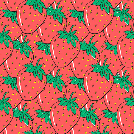 strawberry cartoon: Seamless pattern with red hand drawn strawberries. Cute berries for wrapping paper, textile and packaging design Illustration