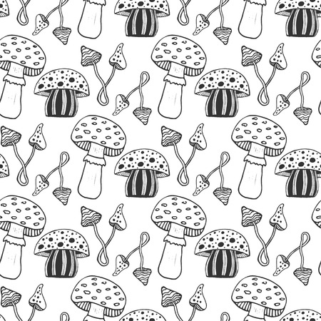 muscaria: Hand drawn psychedelic magic mushrooms seamess pattern. Doodle vector background with poison mushrooms Illustration