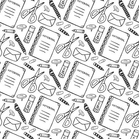 手学校文房具ツールで描かれたシームレス パターン。落書きスタイルで黒と白のベクトルの背景。学校ツール テクスチャ