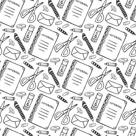Hand drawn seamless pattern with school stationery tools. Vector black and white background in doodle style. School tools texture