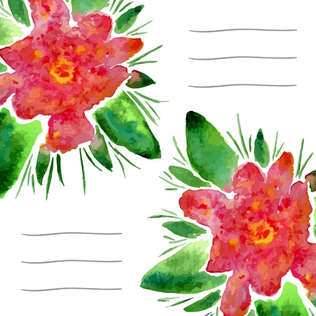notebook cover: Invitation cards with watercolor blooming flowers. Use for notebook cover, brochure, flyer, invitations, wedding and thank you card. Vector illustration