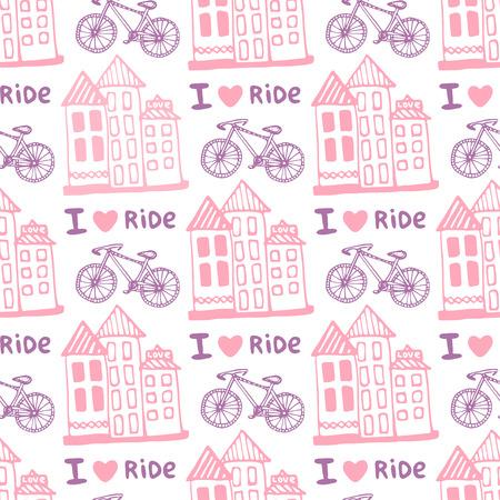Hand Gezeichnet Nahtlose Muster Mit Niedlichen Häuser Und Fahrrad In ...