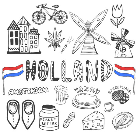 clogs: Doodle hand drawn collection of Holland icons. Netherlands culture elements for design. Vector illustration with travel objects