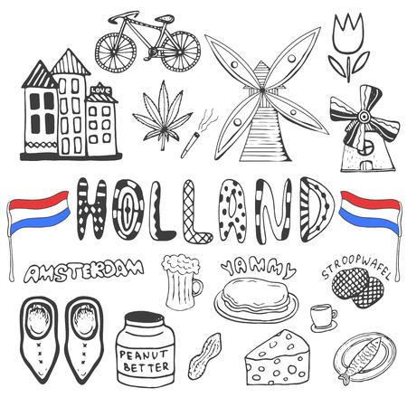 Doodle hand getekende collectie van Holland iconen. Nederland cultuur elementen voor het ontwerp. Vector illustratie met reizen objecten Stockfoto - 41056633