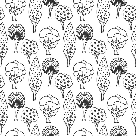nature pattern: Hand drawn seamless pattern with cute doodle trees. Vector illustration for wallpaper, wrapping, packaging, web site background and other Illustration