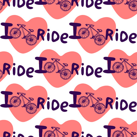 treadle: Creative hand drawn seamless pattern with bikes, hearts  and lettering I love ride. Vector background with bicycle. You can use for wrapping, wallpaper, textile Illustration