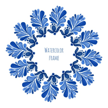souvenir traditional: Blue traditional floral round frame in russian gzhel style or holland style. Vecor template with watercolor decoration. Can be used for greeting card, banner, souvenir design Illustration