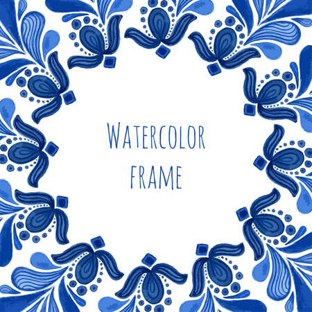 souvenir traditional: Blue traditional floral frame in russian gzhel style or holland style. Vecor template with watercolor decoration. Can be used for greeting card, banner, souvenir design