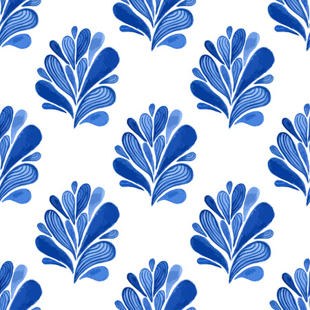blue floral: Watercolor blue floral seamless pattern with leaves. Vector background for textile, wallpaper , wrapping or fabric design