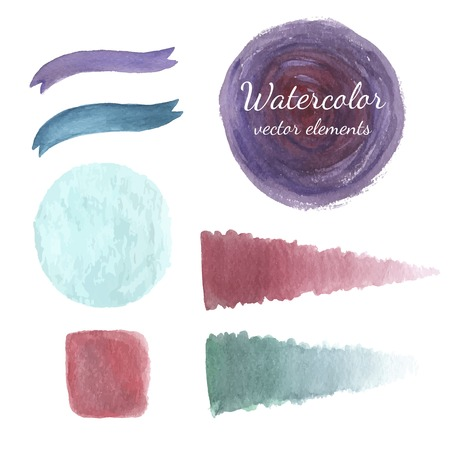 pennon: Watercolor elements set vector.Watercolor colorful splashes and ribbon set. Vector banners for your design. Illustration