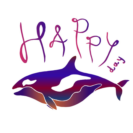 grampus: Colorful whale with lettering - Happy Day. Killer whale or grampus batik imitation vector hand drawn illustration. Can be used separately from backdrop or postcard.
