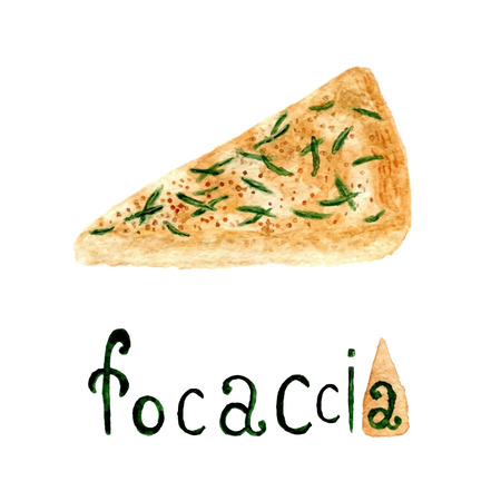 focaccia: Italian rosemary Focaccia bread. Vector watercolor food illustration. Watercolor bread product Illustration